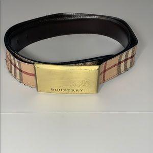 Authentic Burberry Men's Monogram Belt Gold Hardwa